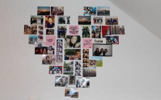 Сердце из фотографий на стене как сделать