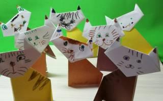 Как сделать из бумаги оригами кота