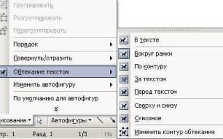 Как в ворде сделать обтекание картинки текстом
