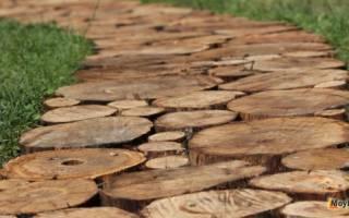 Как сделать дорожку из спилов дерева
