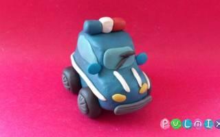 Как сделать из пластилина полицейскую машину