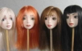 Как сделать волосы кукле из атласной ленты