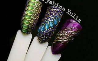 Как сделать дизайн чешуя на ногтях гелем