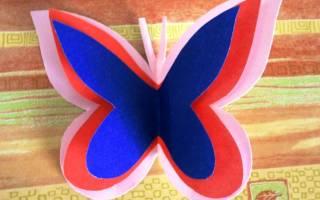 Как сделать бабочку из цветной бумаги