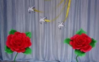 Сделать большой цветок из гофрированной бумаги напольный